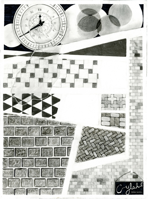 PATTERNED ABSTRACTION   Graphite, Charcoal, Sharpie. Created Fall 2012.