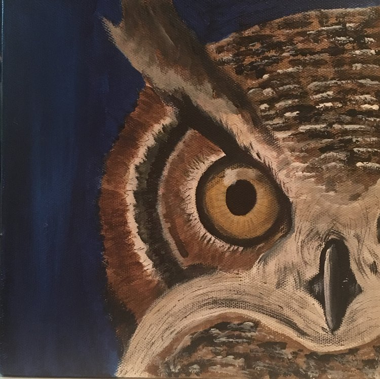 OWL BE SEEING YOU   A painting done purely for the admiration of owls. 1' by 1' canvas. Summer 2017.