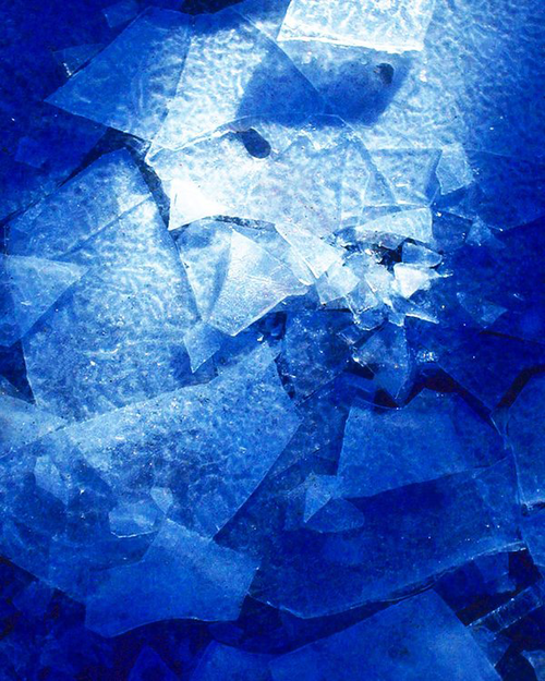SHATTERED SAPPHIRE   One of the oldest works in my collection. Taken with an old cannon 35mm, printed, scanned, and later touched up. Obviously manipulated the saturation, but the simplistic & chaotic nature of the work is entrancing.