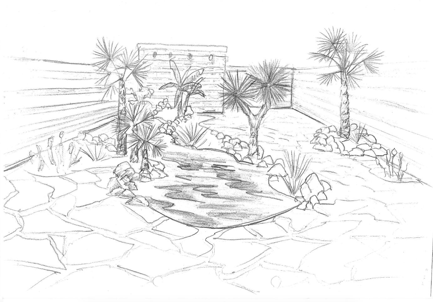 Tropische tuin met Flagstones
