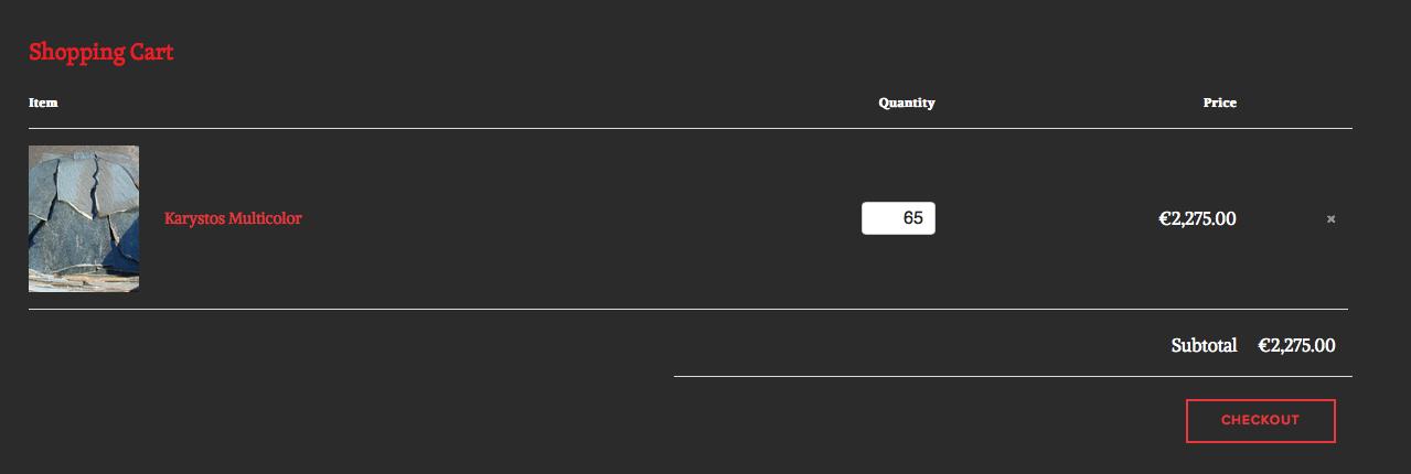 Aantallen wijzigen kunt u in het vakjequantity en producten verwijderen op het kruisje klikken.