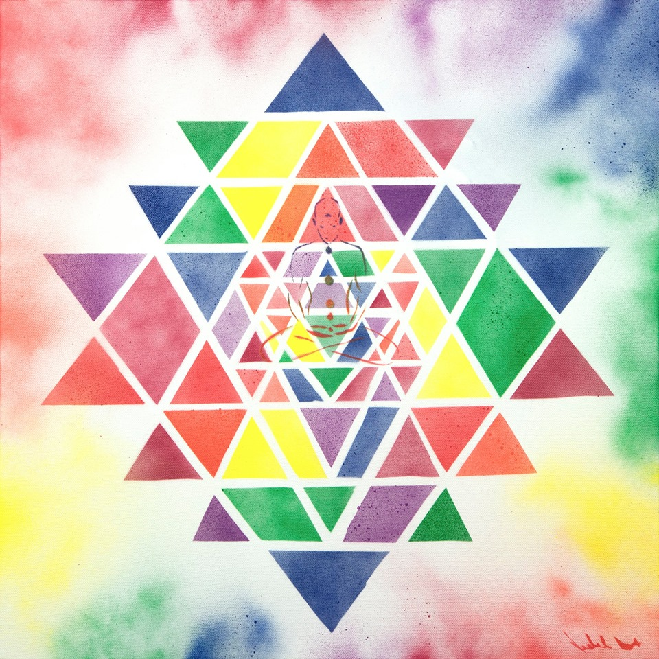 """The inspiration for this one was the oneness of creation. The separation into color from the pure white light makes up all that we experience in this realm. This is not to be interpreted as an illusion but as a gift. To experience the beautiful magnificence that is creation. The center point of the Sri Yantra is colored green to represent love and the heart of creation."""