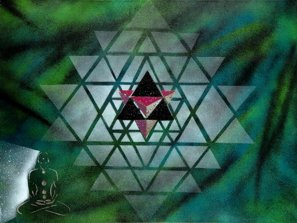"""The pure white sri yantra representing creation. The multidimensional Merkaba is placed on top so that you can see that it's shape exists in the Sri Yantra and also to represent it's use as a vehicle for multidimensional travel and energy expansion. The meditating man beginning to fractal out into stars as he witnesses the ancient wisdom of the Merkaba."""
