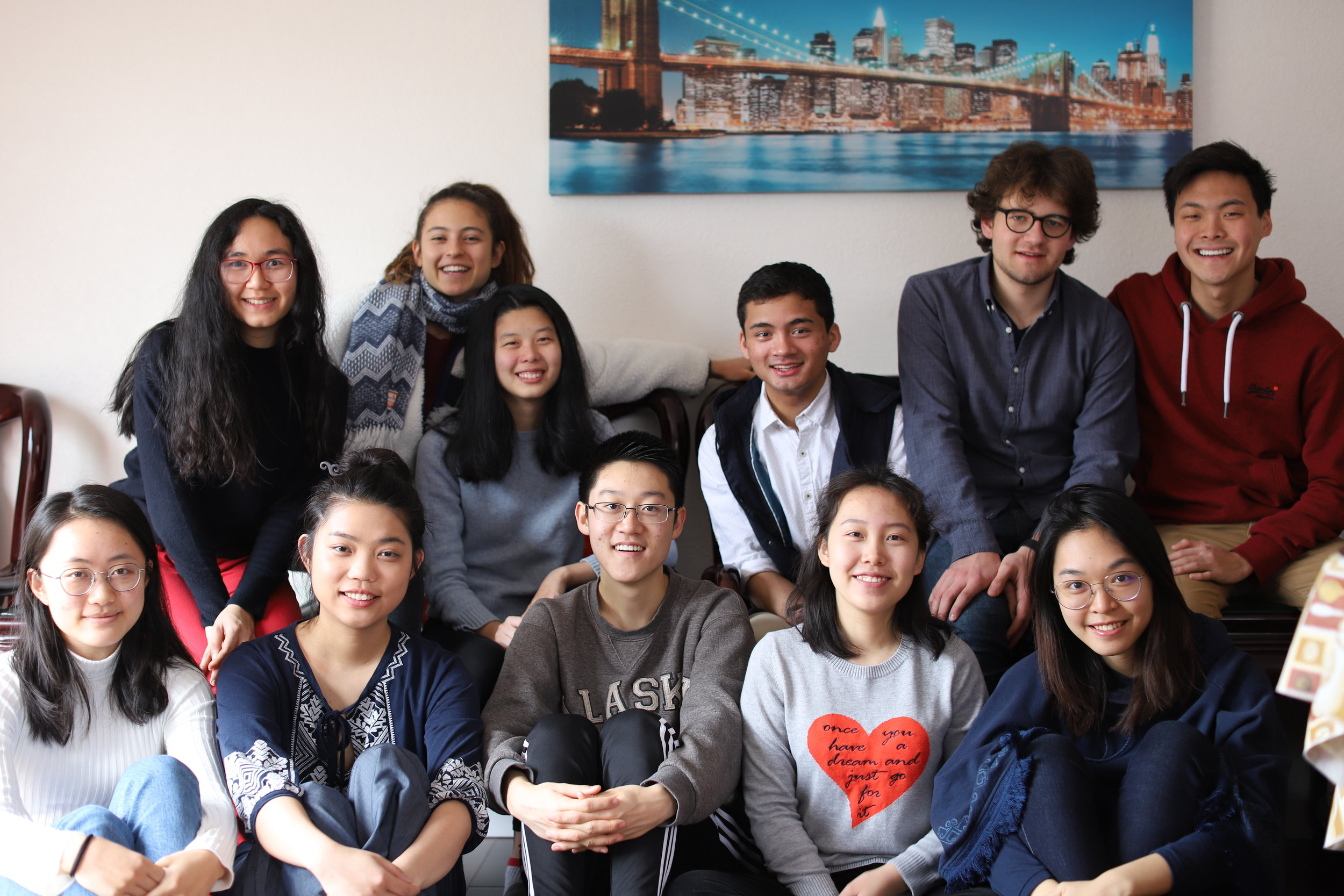 Members of the FACES team pose for a collegial photo at the FACES Annual Team Retreat. Pictured from left to right, front row: Stone Yang, Alice Yanqiu Wang, James Noh, Jiayi Li, Helynna Lin. Back row: Cathy Baron, Charlie Hoffs, Celia Xinuo Chen, Nick Shankar, Frédéric Urech, Troy Shen. Photographer: Eric Kuang.
