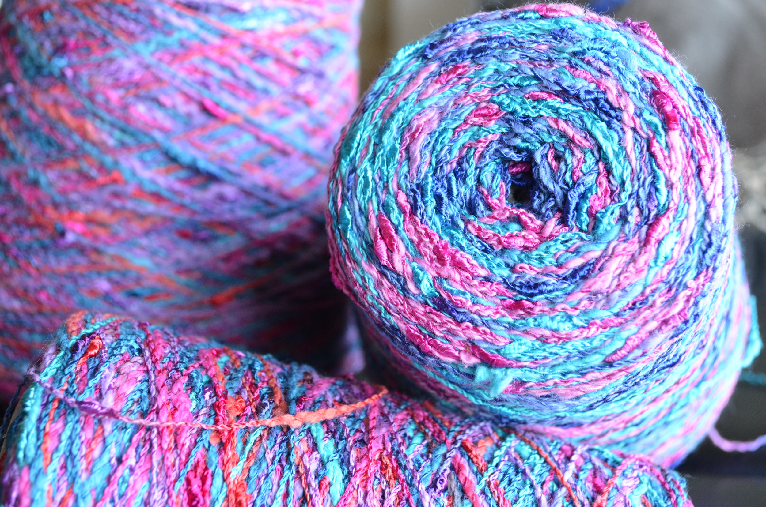blue pink and purple yarn / warp or weft