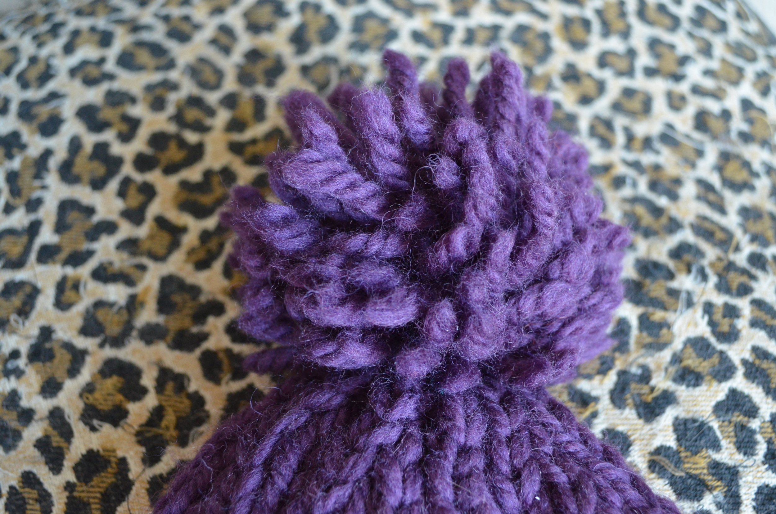 purple pom pom cable hat / warporweft.com