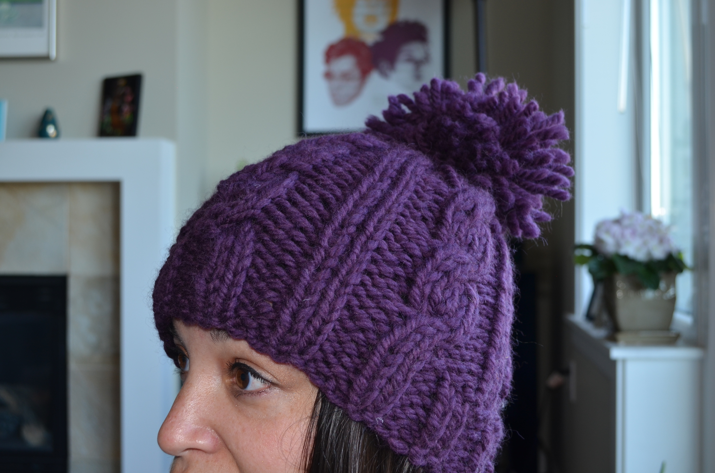 big wool cable hat with pom pom / warporweft.com