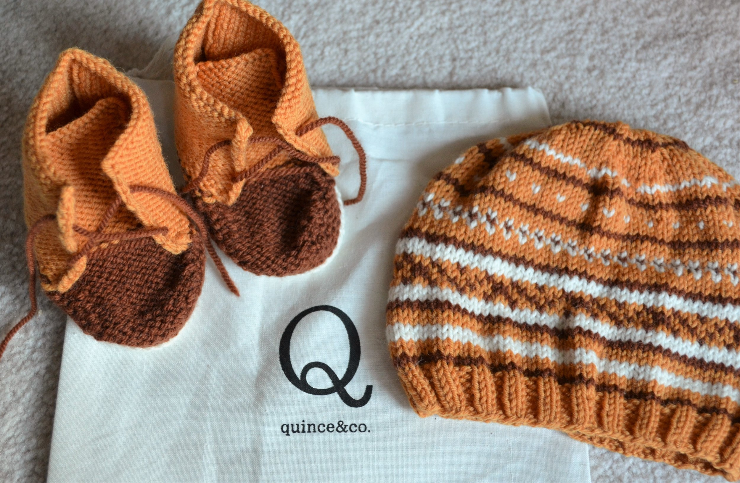 Quince & Co Baby Duck Boots and Knit Hat by Warp or Weft