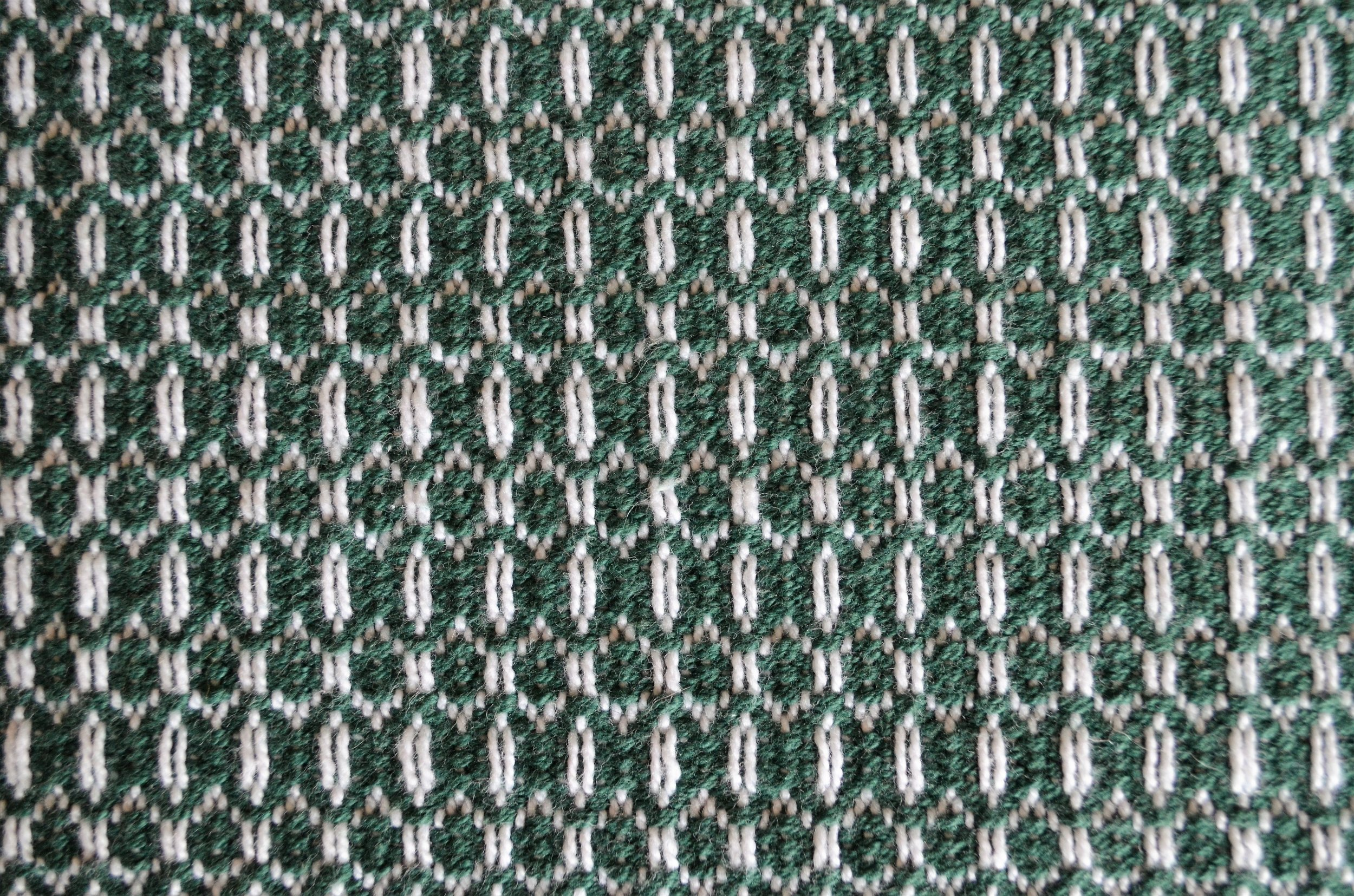green weft and bleach warp rosepath towel