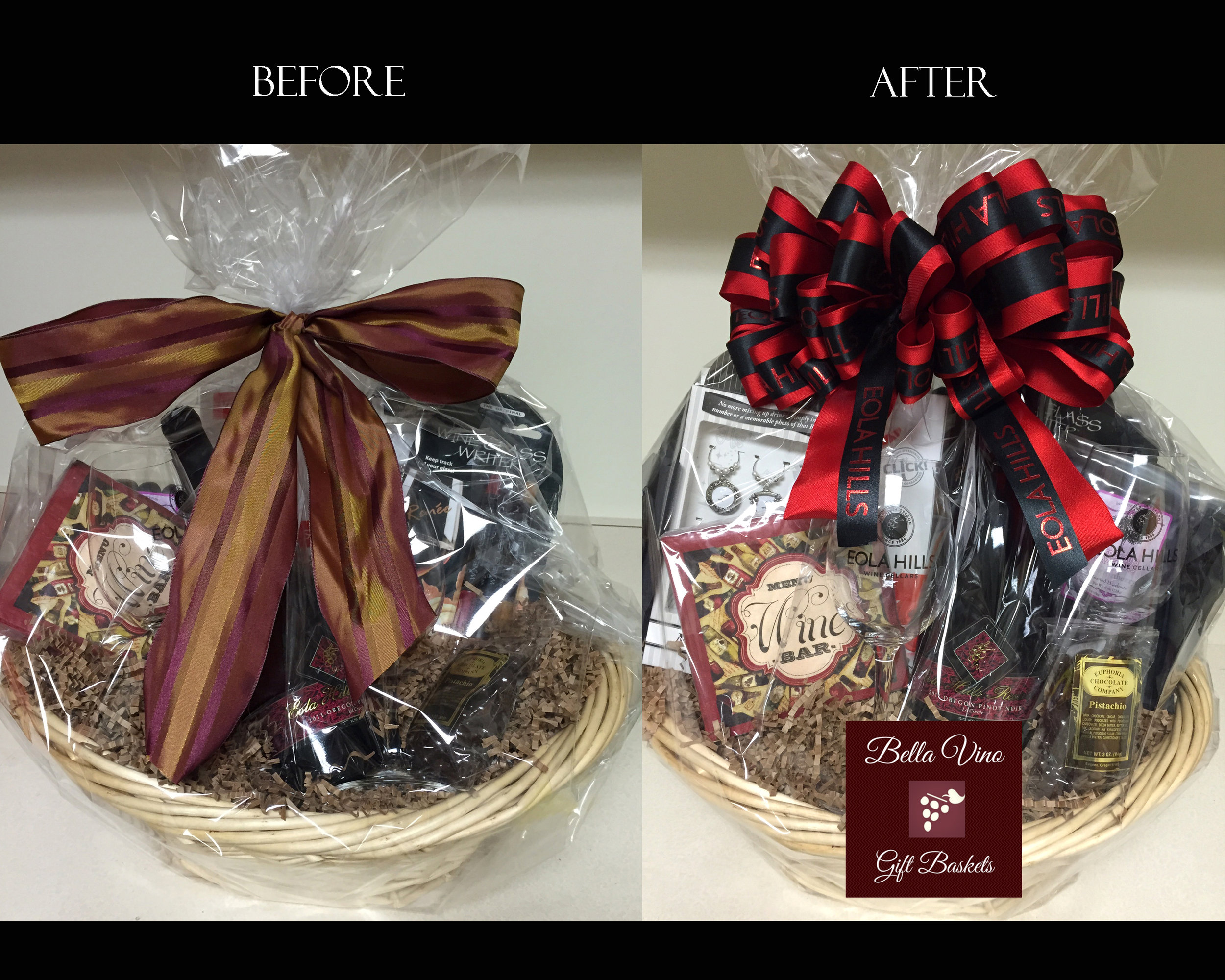 before & after a gift designer's intervention-the exact gift with only the alteration of presentation. Which one looks worth more to you?