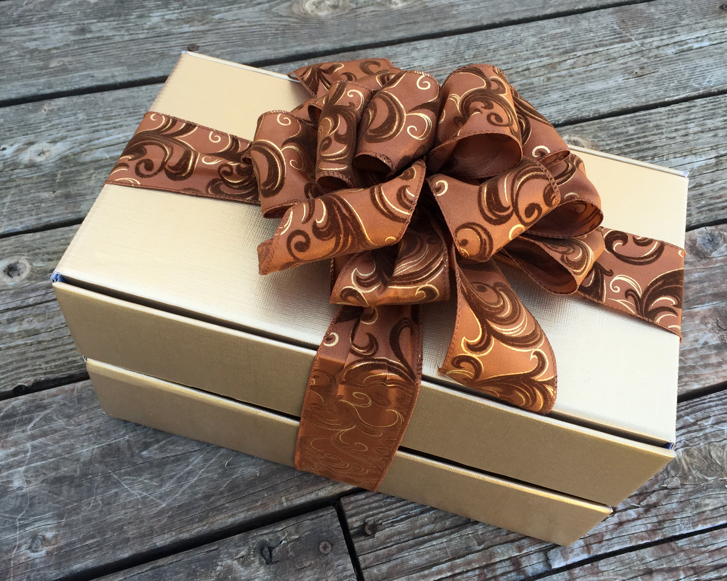 Example of 2 Tier Gift Box in Gold Linen