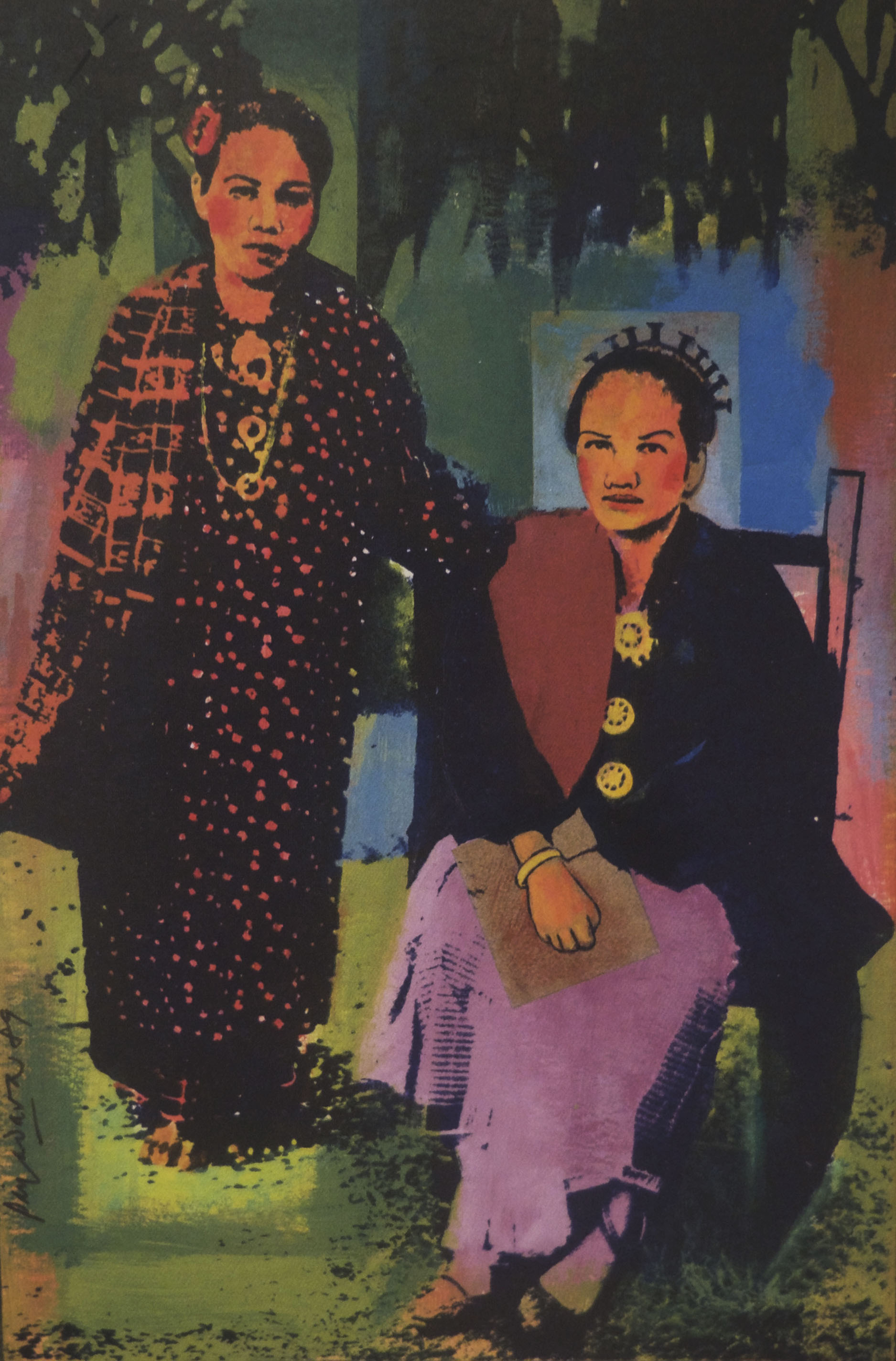 Redza Piyadasa, Two Malay Women, 1989 mixed media on paperboard, ANU School of Art Collection