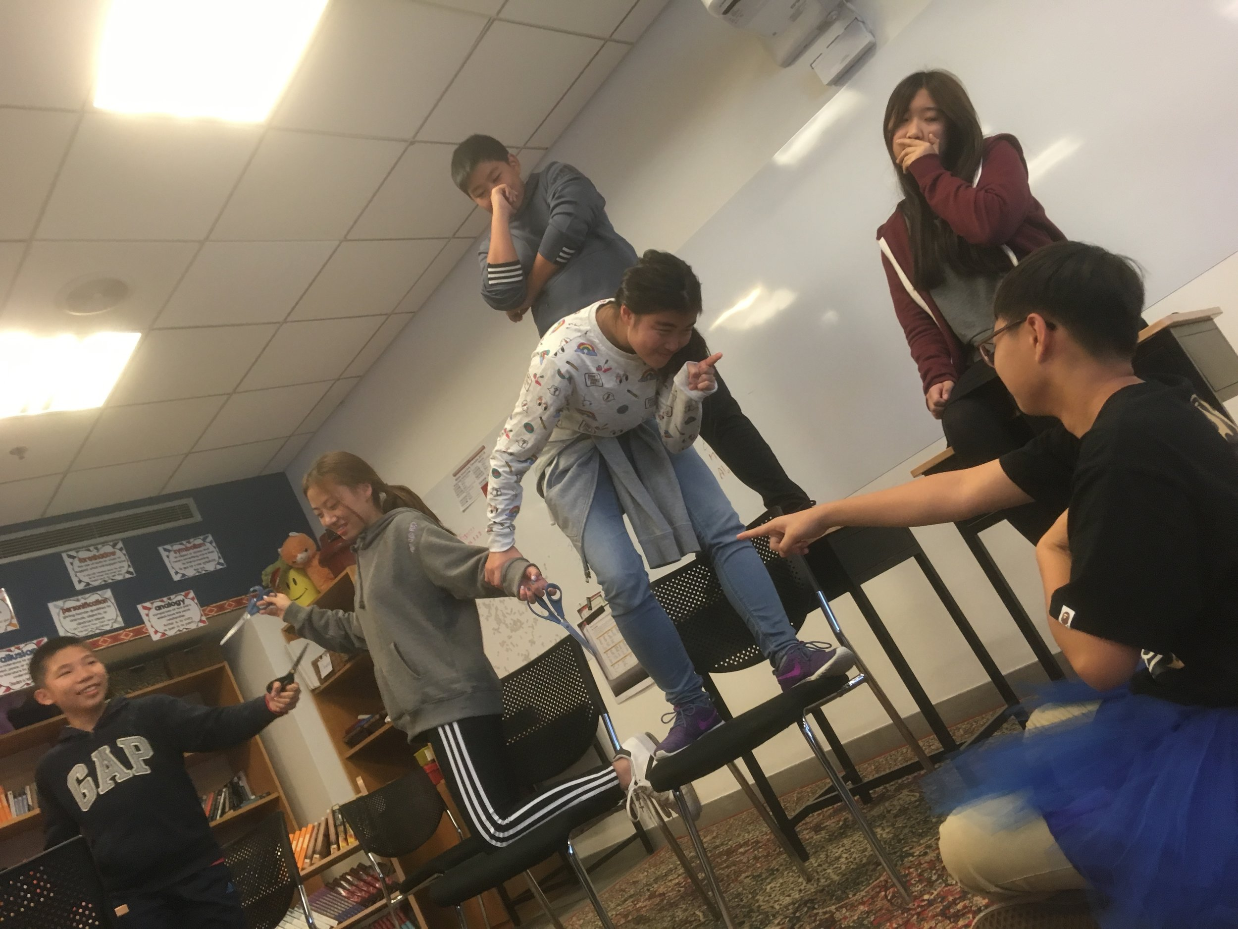 As a part of mapping the emotional wellbeing of certain key characters, students are asked to tableaux scenes to better understand dynamics of character differences as well as understanding directing elements such as non-verbal cues, director's notes, camera angles, sets, and framing