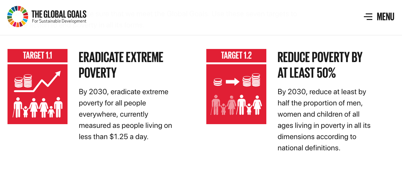 https://www.globalgoals.org/   Target Cards PDF