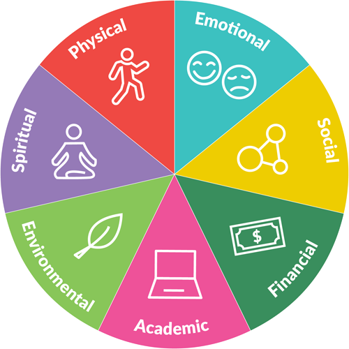 A wellness wheel can also be a great framework for thinking about finding a target for action or personal growth
