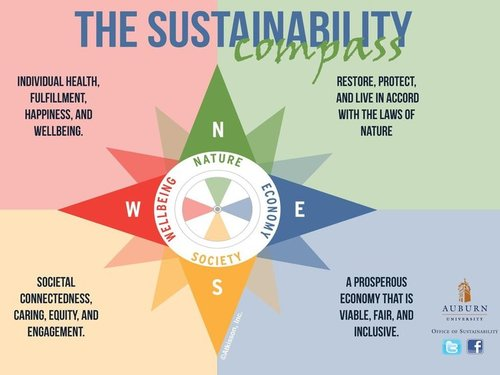 Thinking sustainably using the  Compass  can also help identify areas to focus your impact, especially in doing a campus or site sustainability assessment