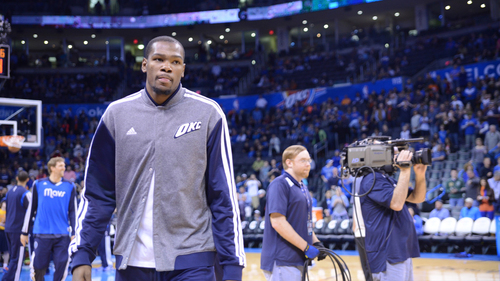 Durant warms up earlier this season