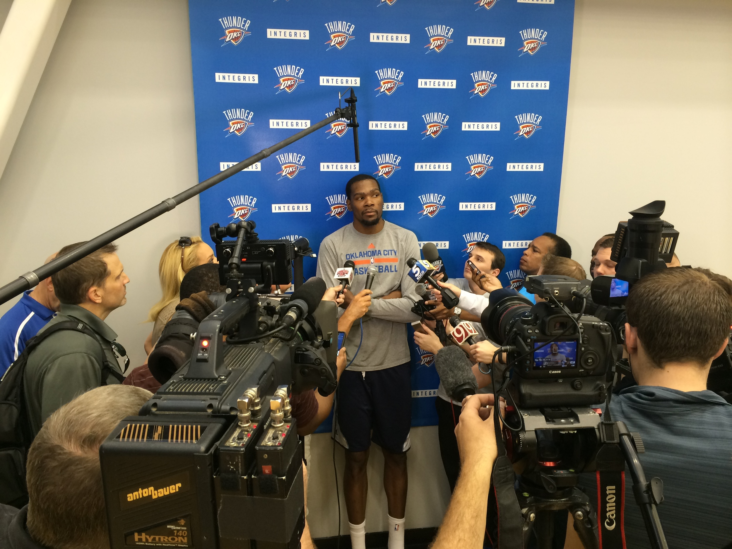 Kevin Durant meeting the media at the INTEGRIS Health Thunder Development Center after Friday's practice. Photo by Jeremy Griffin for InsideThunder.com