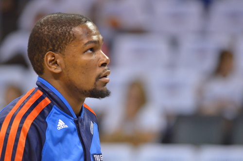 Oklahoma City Thunder Superstar Kevin Durant warms up before a recent game at Chesapeake Energy Arena. Photo by Torrey Purvey for InsideThunder.com
