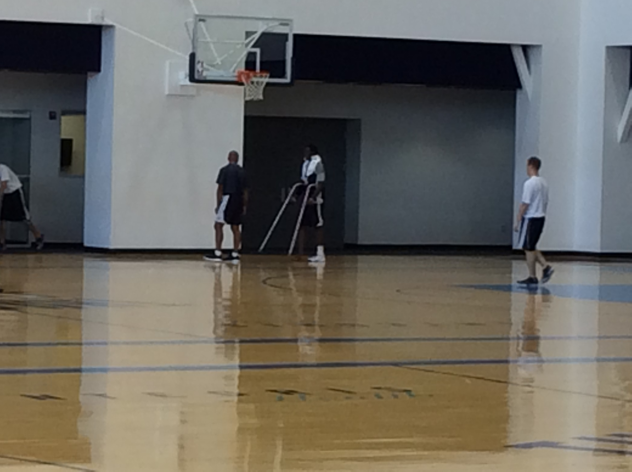 Thunder backup point guard Reggie Jackson on crutches after Monday's practice at the INTEGRIS Thunder Development Center. Photo by Randy Renner for InsideThunder.com