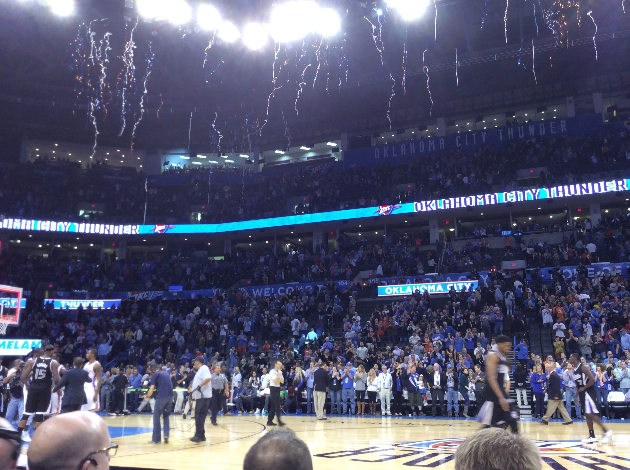 Streamers fall from the rafters at Chesapeake Energy Arena as the Thunder beat Sacramento Sunday night. Photo by Randy Renner for InsideThunder.com