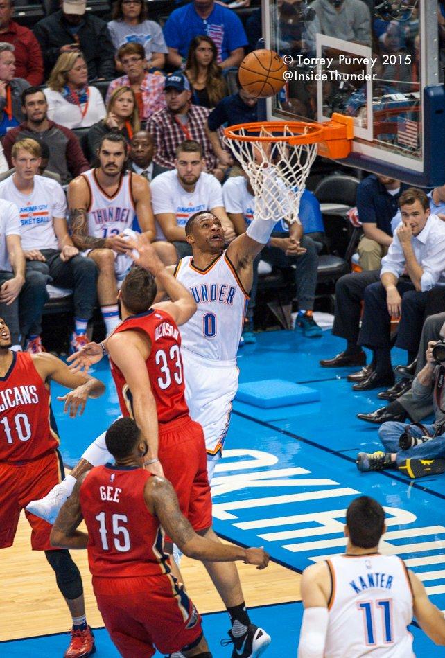 Russel Westbrook attacks the basket. Torrey Purvey/InsideThunder.com