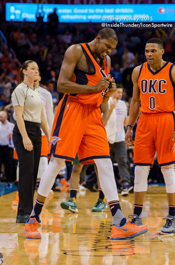 Kevin Durant after a big basket. (Torrey Purvey/InsideThunder.com)