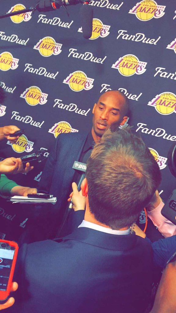 Kobe Bryant addressing the media after 118-78 loss.