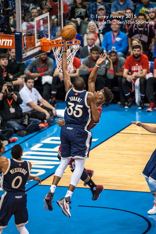 KD laying the ball in over Jimmy Butler. Torrey Purvey/InsideThunder.com