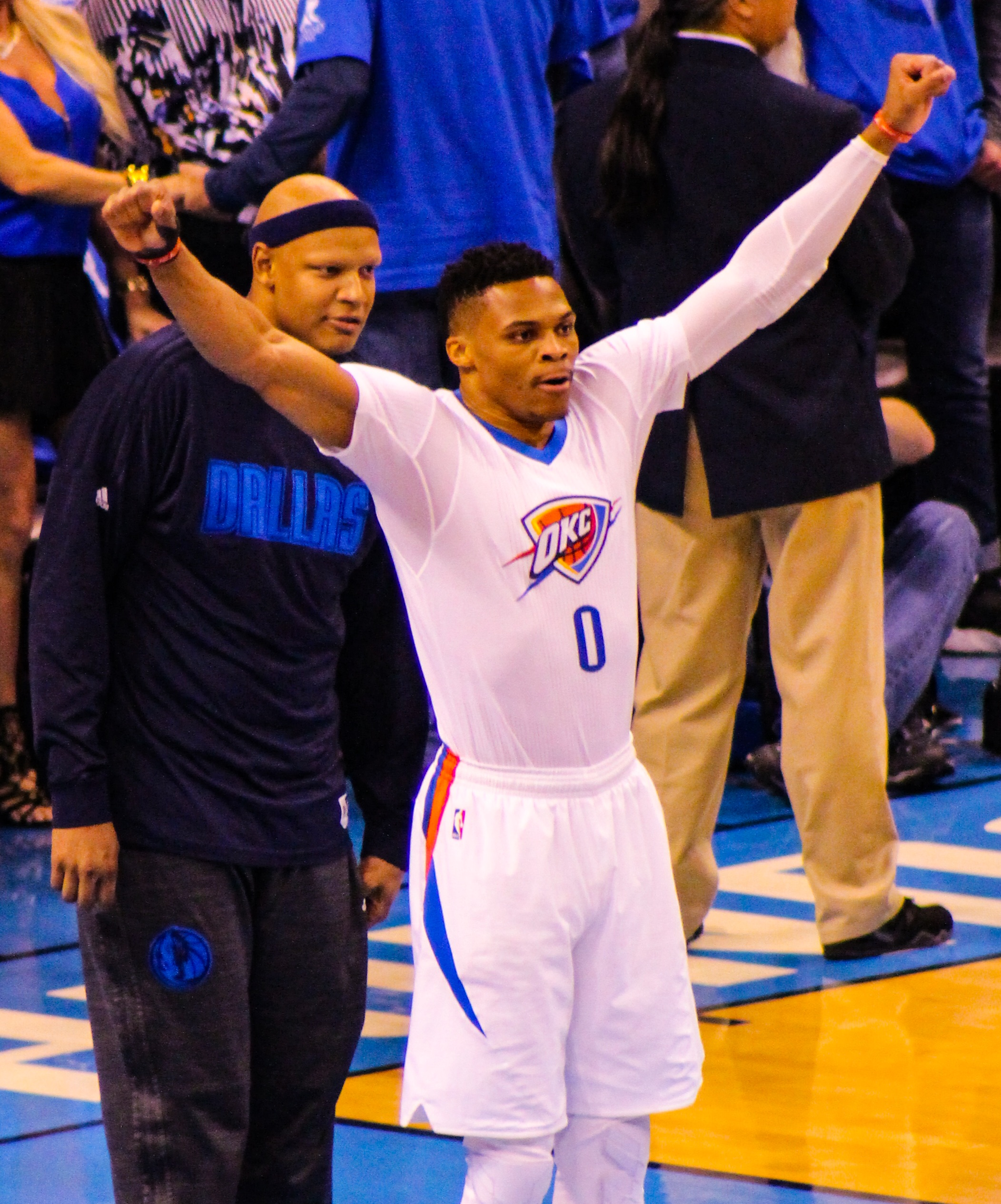 Mavs forward Charlie Villanueva talking to Thunder guard Russell Westbrook just before tipoff of Monday's Game 5. (Photo by Sam Murch for InsideThunder.com)