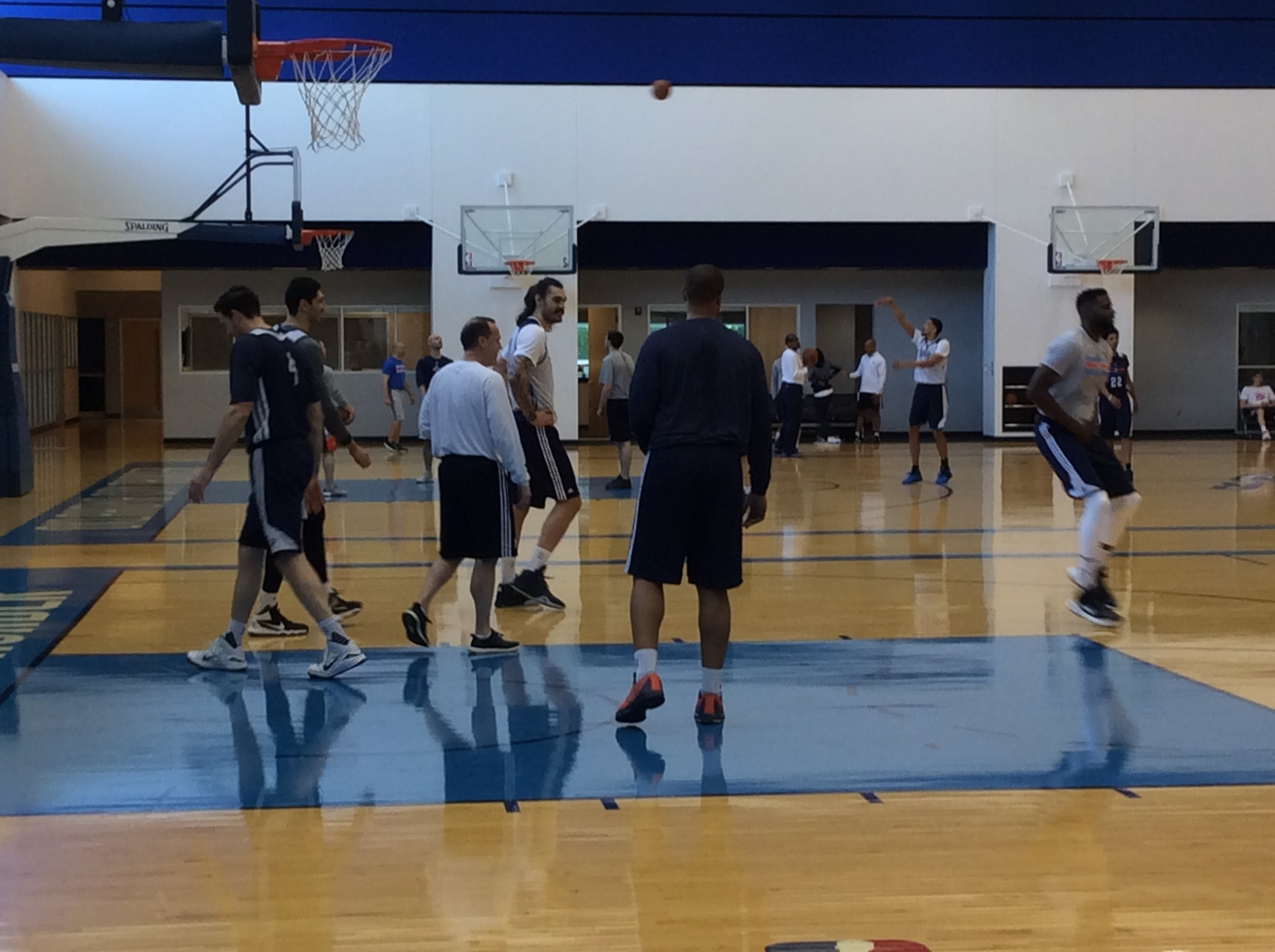 Thunder players and coaches working during the team's shootaround Friday morning at the INTEGRIS Thunder Development Center. (Photo By Randy Renner/InsideThunder.com)