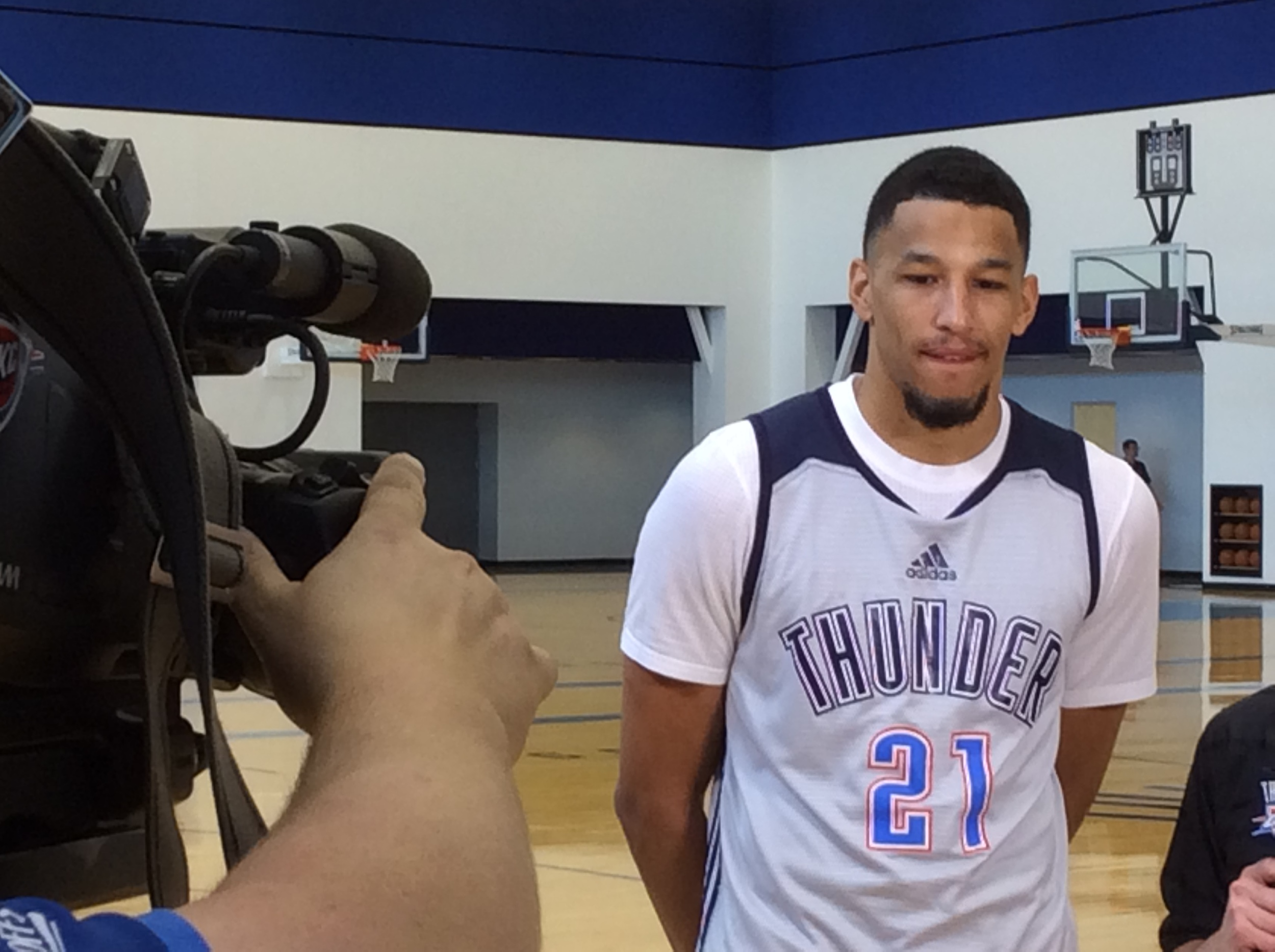 Thunder guard Andre Roberson about to be interviewed after Friday's shootaround. Photo By Randy Renner/InsideThunder.com