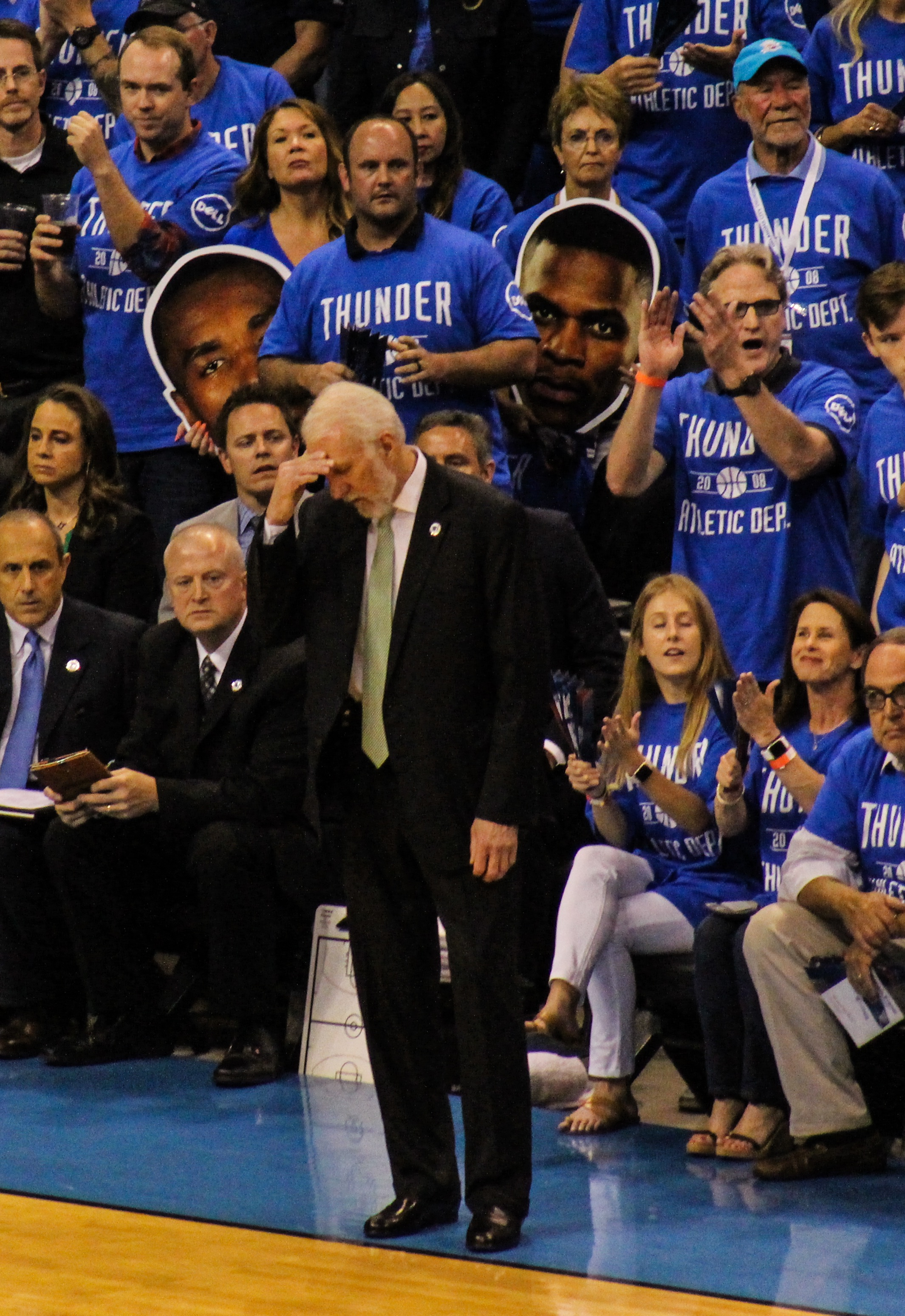 San Antonio head coach Greg Popovich showing his frustration. Photo by Sam Murch/ InsideThunder.com