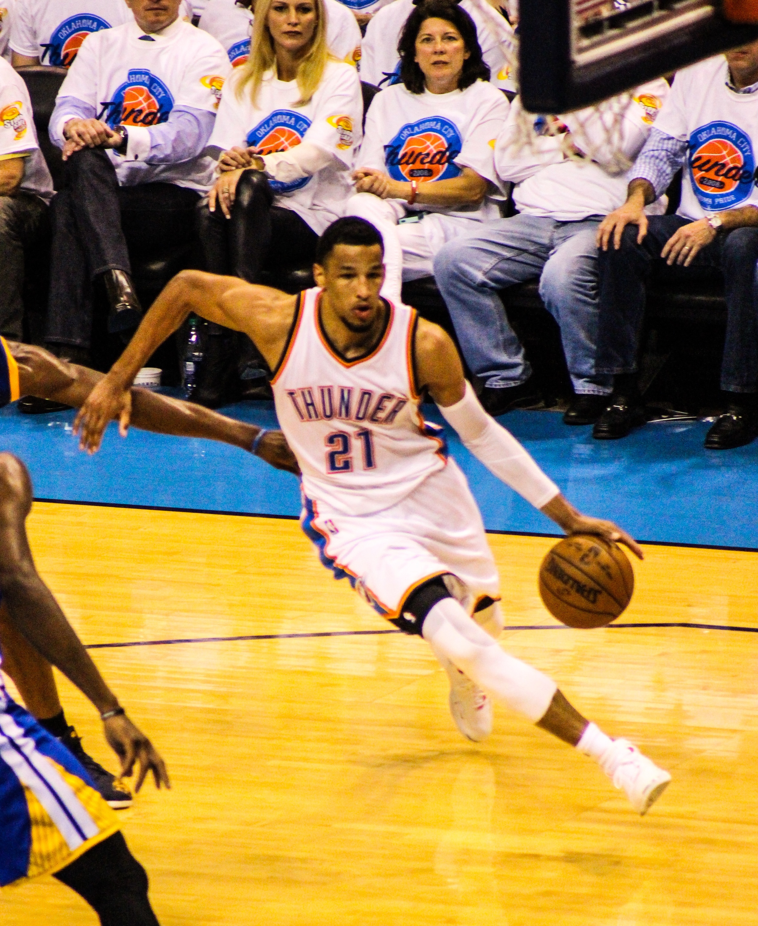 Thunder guard Andre Roberson drives toward the basket during Game 4 of the Western Conference Finals at Chesapeake Energy Arena in Oklahoma City. (Photo By Sam Murch/InsideThunder.com)