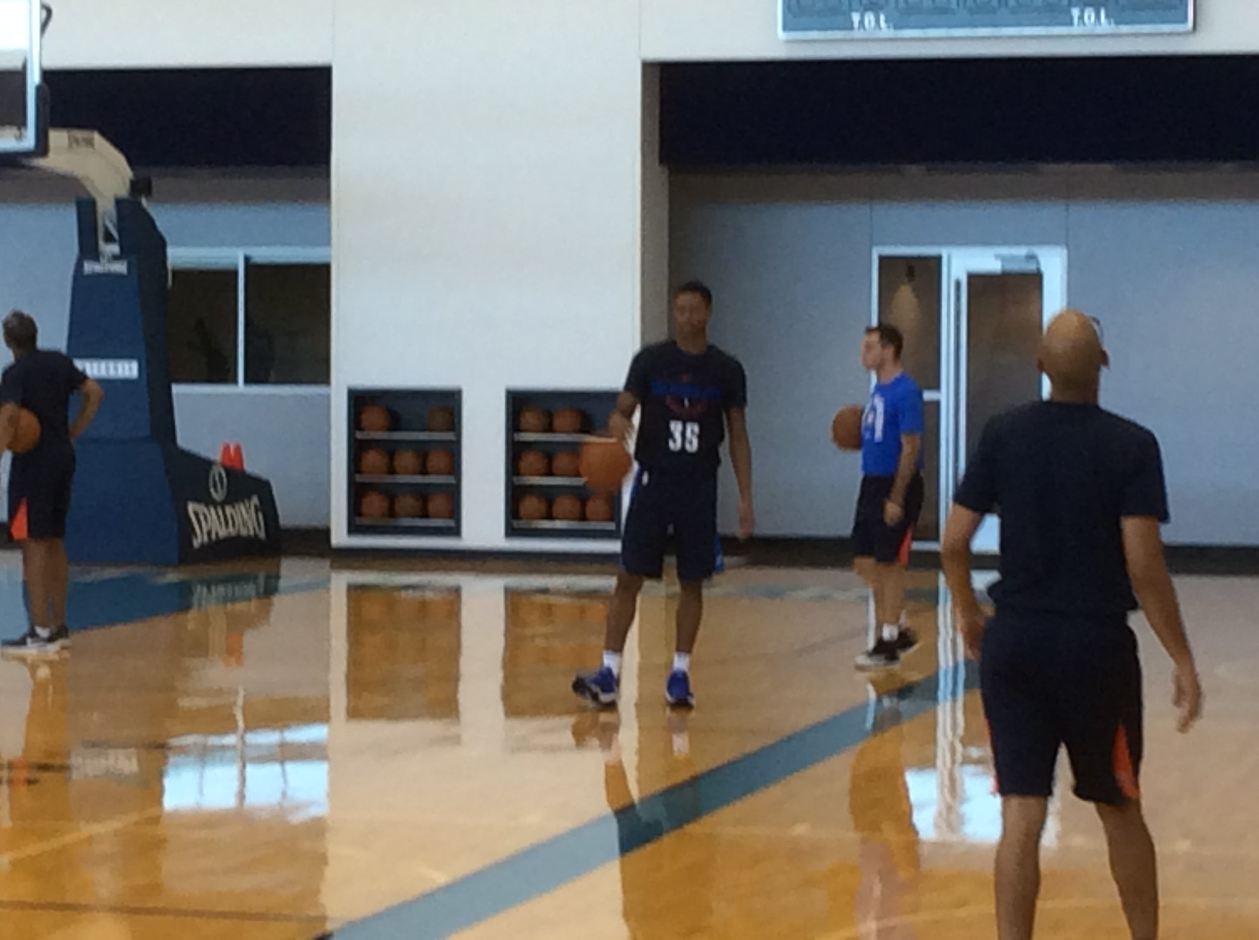 P.J. Dozier at Tuesday's Thunder practice wearing a familiar number.