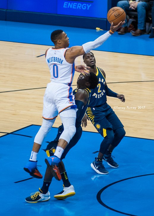 Russell Westbrook finger rolls the ball into the net to score two of his 28 points Wednesday night against Inidana. (Photo By: Torrey Purvey/InsideThunder.com)