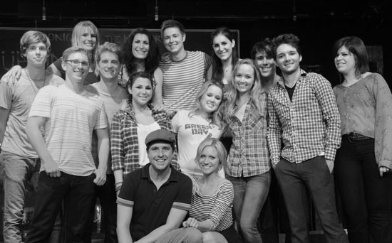The cast of  Spring Awakening in Concert  with  Love is Louder 's Brittany Snow and Kathleen Coombs