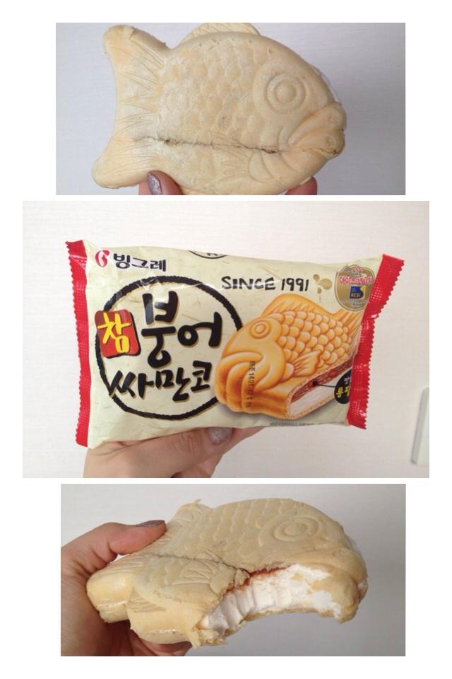 """참 붕어 싸만코 (Cham BoongUh SsaManKo) = Vanilla Ice-cream Shaped as a Fish  """"BoongUh"""" is a famous fish shaped red-bean pasted filled bread that's sold as snacks in the winter time. This ice-cream is an ice-cream version having vanilla ice-cream, layer of red bean paste inside of a fish shaped cone."""