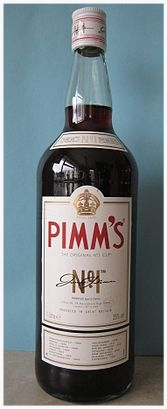 """Everyone asks what's in it?  So essentially, Pimm's itself is a gin based liquer. For the Pimm's drink, it is typically mixed with sprite (or as they call it in Britain """"lemonade""""), mixed fruits such as oranges, strawberries, cucumber and mint leaves over a ton of ice so it's ice cold!"""