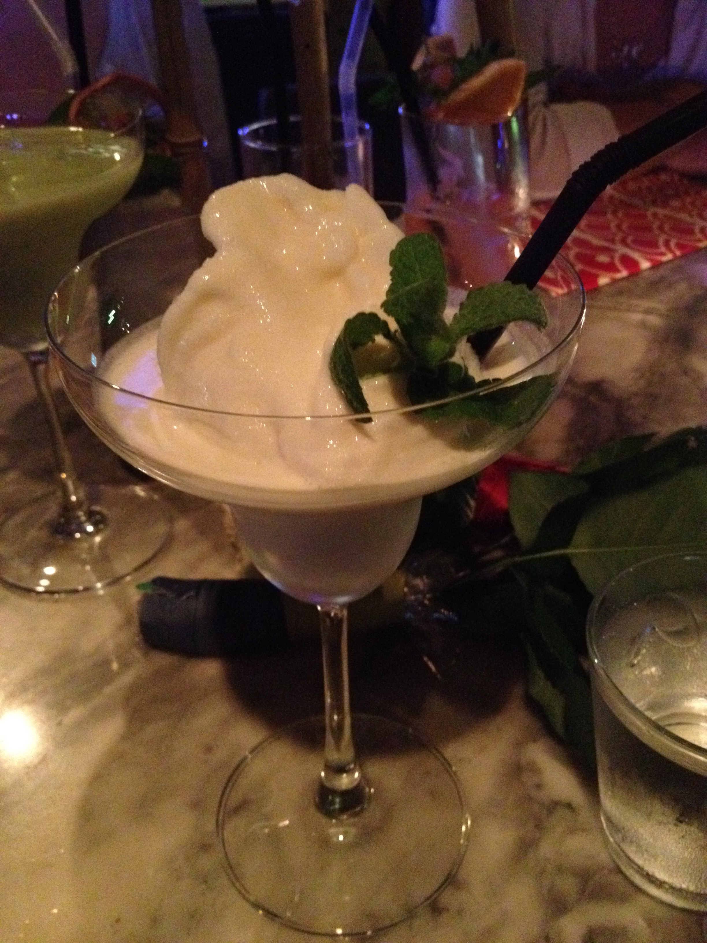 Key Lime Margarita - creamy, tart and delicious! The only complaint is that it's too small! They should put this into a giant cup!
