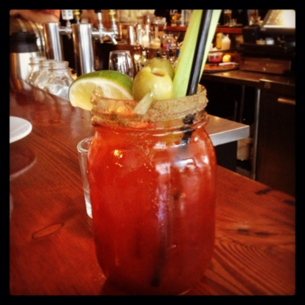 @Flying Pig, Yaletown, Vancouver, BC, Canada.  Classic caesar - come with lime, olives and celery sticks. They use siracha hot sauce instead of tabasco hot sauce. Love the size and presentation in the mason jar.