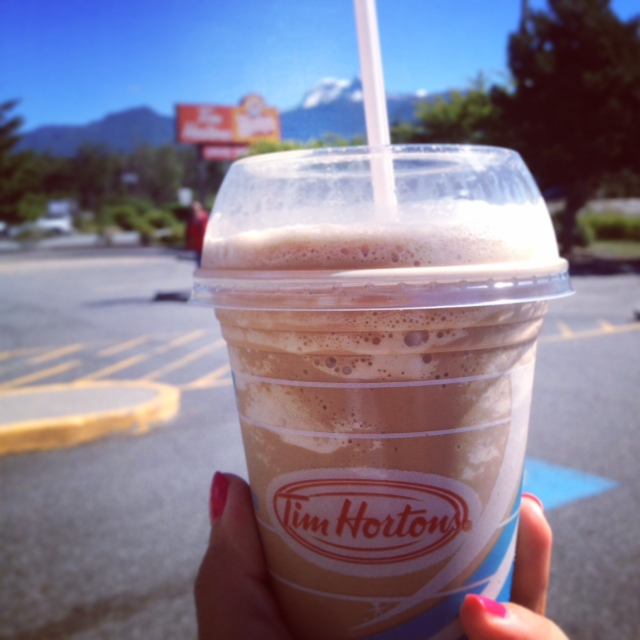 """The classic summertime drink of Tim Hortons - the Ice Cappuccino aka """"Ice-Capp"""" if you want to sound like a true Vancouverite. = p  You have the option to get it made with cream or milk, but who are we kidding - of course the cream one tastes better."""