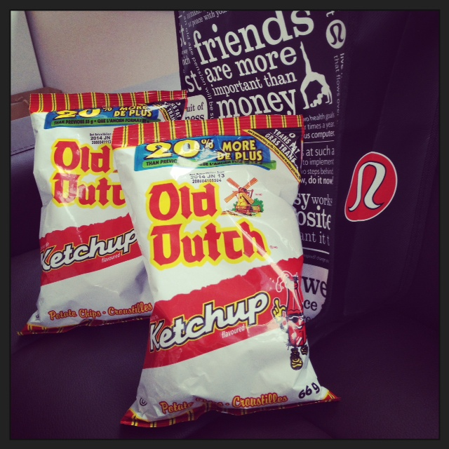 """Two of some of my favourite things! Old Dutch Ketchup Chips and lululemon! ^^   Note: Click the picture to get transported to a """"side of lululemon""""."""
