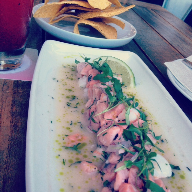 """Ceviche - """"lois lake steelhead, sustainably harvested prawns,red onions, thai basil, mint, cilantro, nuoc cham.""""  This was perfect to pair with a Cactus Caesar! Highly recommended!  Full menu can be found  HERE."""