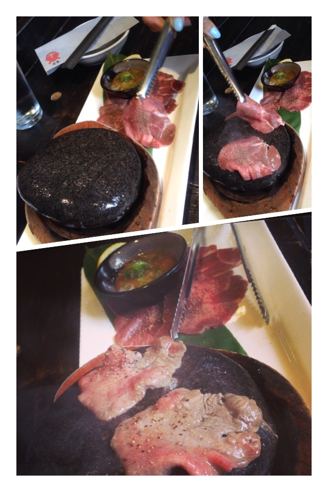 """""""STONE-GRILLED BEEF TONGUE SERVED WITH YUZU RED PEPPER PASTE AND GREEN ONIONS."""" Their stone-grilled kobe beef is also very popular and fun to grill on a hot stone at your own table.    See their full  MENU HERE."""