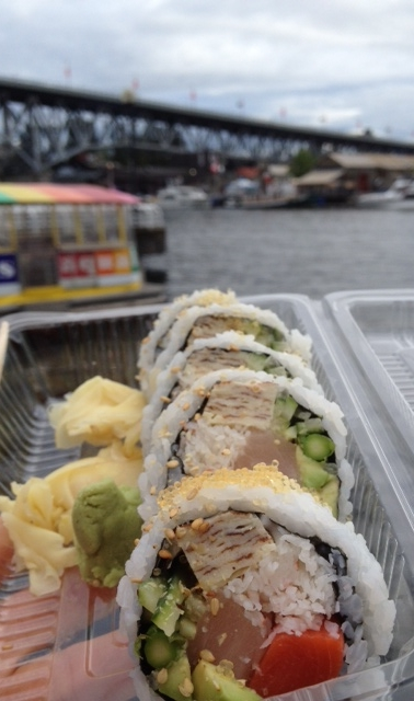 The 501 Roll - 3kind of Fish, 3kinds of Veggies & Egg    It's like a house roll with all the good stuff! All of my favourites ingredients on the inside (maybe except for tomago), but thoroughly enjoyed this half-roll by the sea-wall.