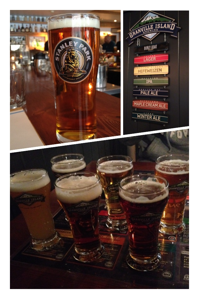 """I don't know much about these beers, but they were great locally brewed draft beers! Loved the """"Stanley Park"""" and the """"Granville Island Honey Lager""""."""