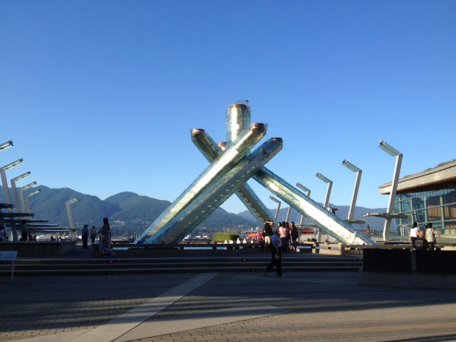 The 2014 Vancouver Olympic torch. Your view acorss to North Vancouver while on the patio at Cactus Club Coal Harbour.
