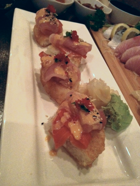 """Their pizza sashimi appetiser is awesome - fresh salmon and tuna sashimi on top of """"toasted rice!"""" (누릉지밥!)"""