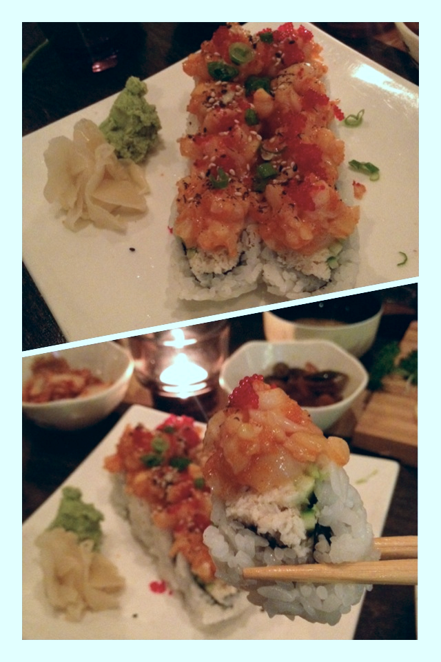 Volcano Roll - spicy tuna on top of California roll.